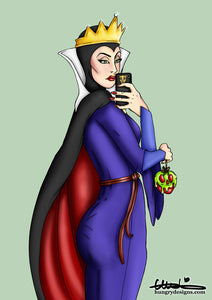Selfie Evil Queen Snow White A4 Art Print by Hungry Designs