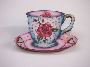Rose Teacup and Saucer Laser Cut Wood Brooch