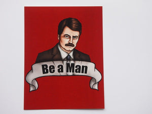 Ron Swanson Parks and Recreation Postcard