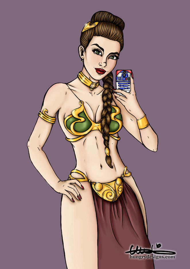 Selfie Princess Leia Star Wars A4 Art Print by Hungry Designs