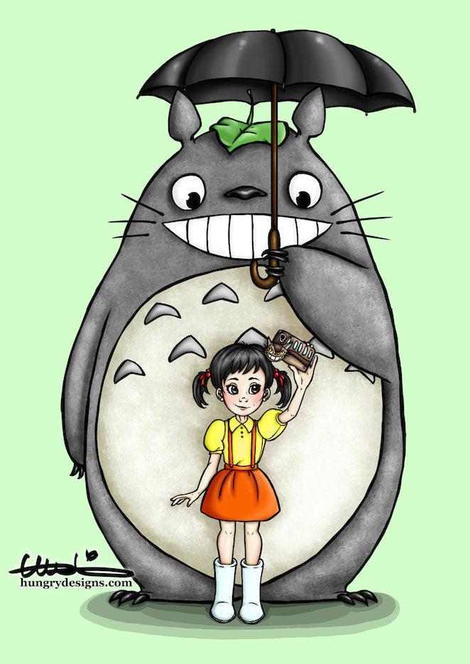 Selfie Totoro A4 Art Print by Hungry Designs