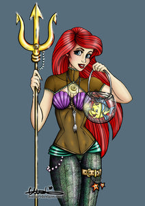 Steampunk Ariel from The Little Mermaid A4 Art Print by Hungry Designs