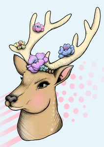 Pastel Floral Deer A4 Art Print by Hungry Designs