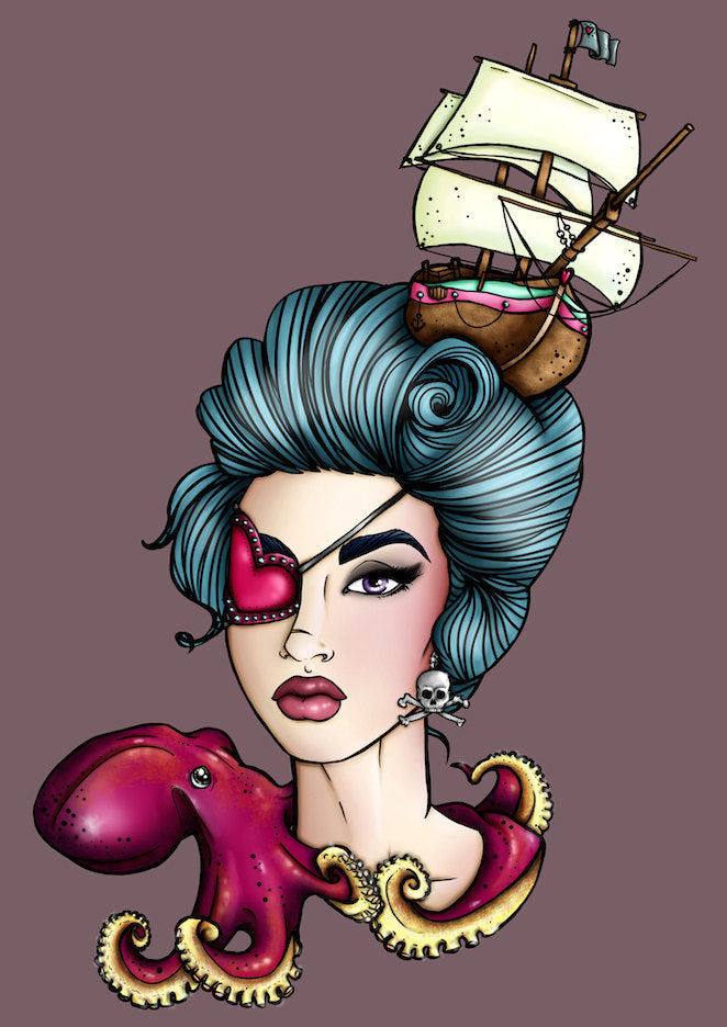 Pirate Girl Octopus A4 Art Print by Hungry Designs