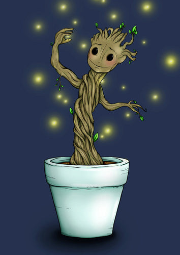 Baby Groot Guardians of the Galaxy A4 Art Print by Hungry Designs