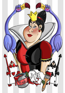 Alice in Wonderland Queen of Hearts A4 Art Print by Hungry Designs