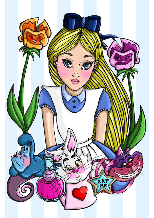 Alice in Wonderland A4 Art Print by Hungry Designs
