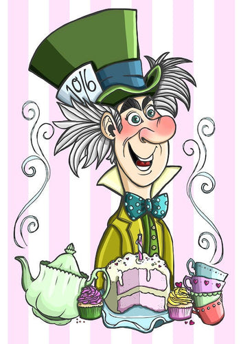 Alice in Wonderland Mad Hatter A4 Art Print by Hungry Designs
