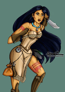 Steampunk Pocahontas A4 Art Print by Hungry Designs