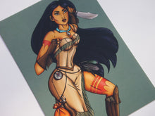 Load image into Gallery viewer, Steampunk Pocahontas Postcard by Hungry Designs