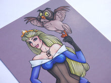 Load image into Gallery viewer, Steampunk Aurora Sleeping Beauty Blue Postcard by Hungry Designs