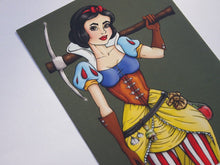 Load image into Gallery viewer, Steampunk Snow White Postcard by Hungry Designs