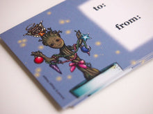 Load image into Gallery viewer, Illustrated Christmas Groot Guardians of the Galaxy Gift Tags x 10