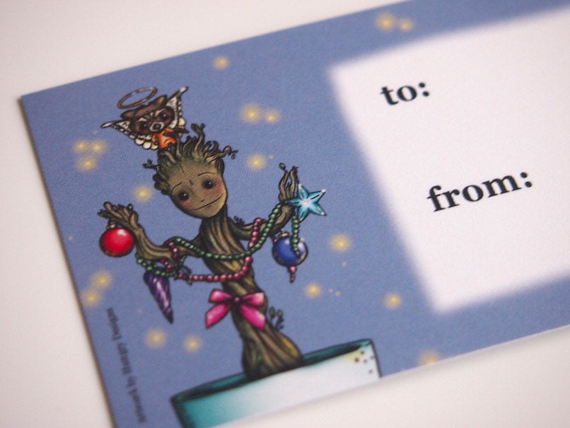 Illustrated Christmas Groot Guardians of the Galaxy Gift Tags x 10