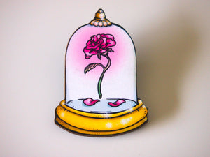Rose from Beauty and the Beast Laser Cut Wood Brooch