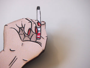 Twin Peaks Cigarette Hand Laser Cut Wood Brooch