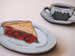 Twin Peaks Damn Fine Coffee and Cherry Pie - 2 Part Laser Cut Wood Brooches