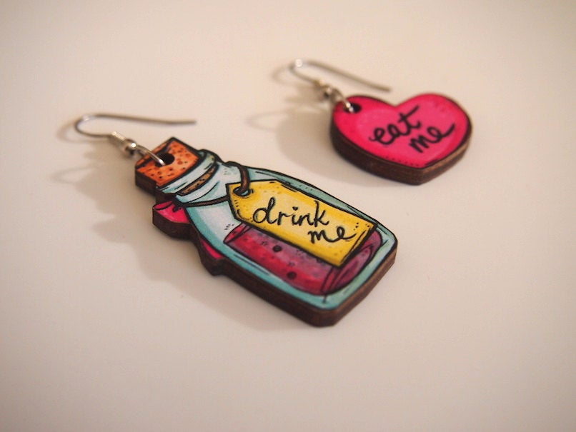 Drink Me and Eat Me Mis-Matched Laser Cut Wood Dangle Earrings