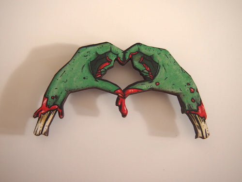 Zombie Love Heart Hands Laser Cut Wood Brooch