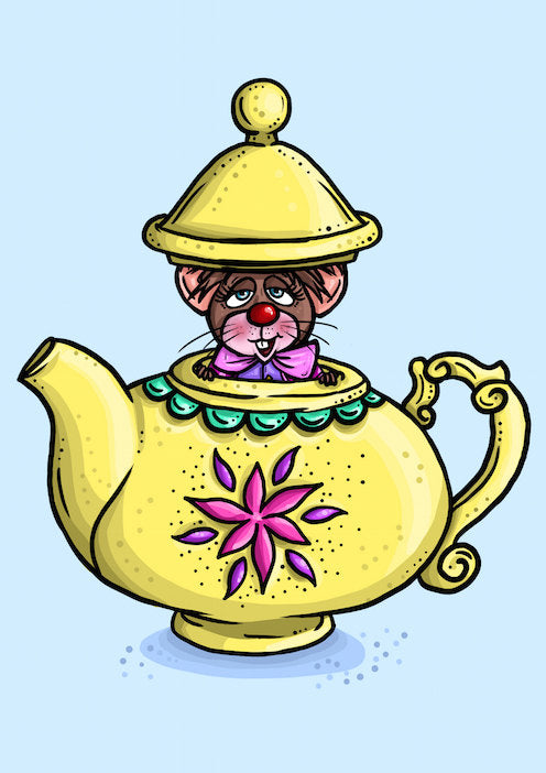 Teapot Mouse-  Alice in Wonderland A4 Art Print by Hungry Designs