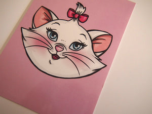 Illustrated Marie Cat Aristocats Postcard