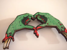Load image into Gallery viewer, Zombie Love Heart Hands Laser Cut Wood Brooch