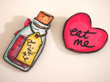 Load image into Gallery viewer, Drink Me Bottle and Eat Me Heart Alice in Wonderland Laser Cut Wood Brooch Pair