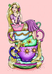 Teacup Rapunzel A4 Art Print by Hungry Designs