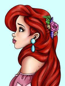 Ariel - The Little Mermaid - A4 Art Print by Hungry Designs