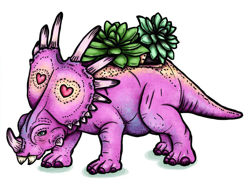 Triceratops Succulent Planter - A4 Art Print by Hungry Designs