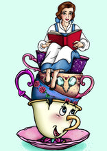 Load image into Gallery viewer, Teacup Belle - Beauty and the Beast - A4 Art Print by Hungry Designs