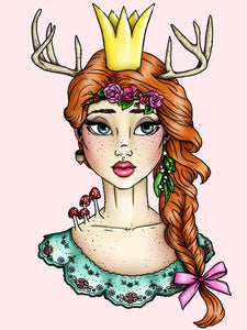 Woodland Princess A4 Art Print by Hungry Designs