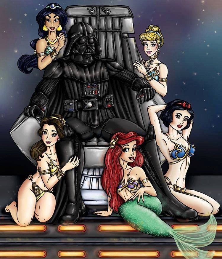 Embrace the Dark Side A4 Art Print - Star Wars and Disney Parody - Disney Princesses Slave Leia and Mickey Mouse Darth Vader