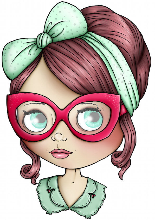 Blythe Doll - Mint Green and Red - A4 Art Print by Hungry Designs