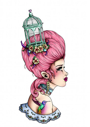 Pink Birdcage Marie Antoinette A4 Art Print by Hungry Designs