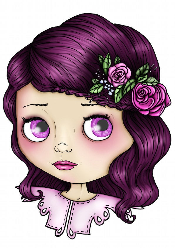 Blythe Doll - Pink and Purple - A4 Art Print by Hungry Designs