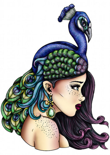 Peacock Girl A4 Art Print by Hungry Designs