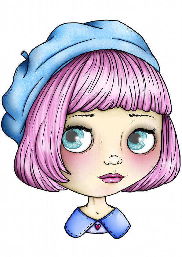 Blythe Doll - Baby Blue and Pink A4 Art Print by Hungry Designs