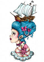 Load image into Gallery viewer, Blue Pirate Ship Marie Antoinette A4 Art Print by Hungry Designs