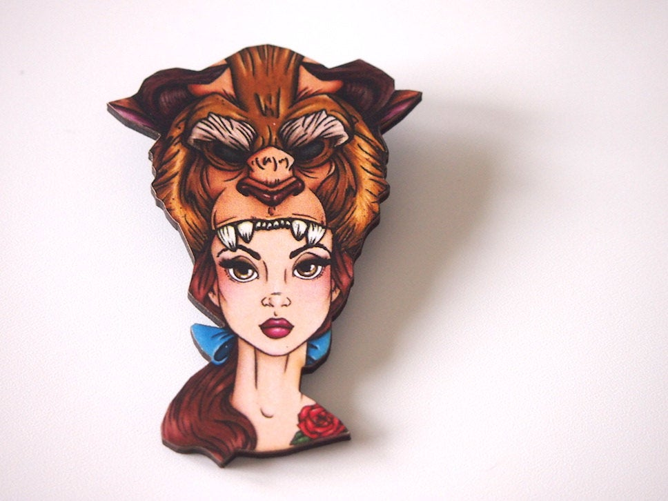 Hunted Belle - Beauty and the Beast - Laser Cut Wood Brooch