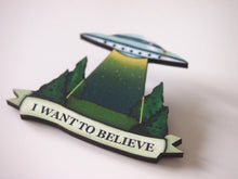 Load image into Gallery viewer, The X-Files Laser Cut Wood Brooch - I Want to Believe