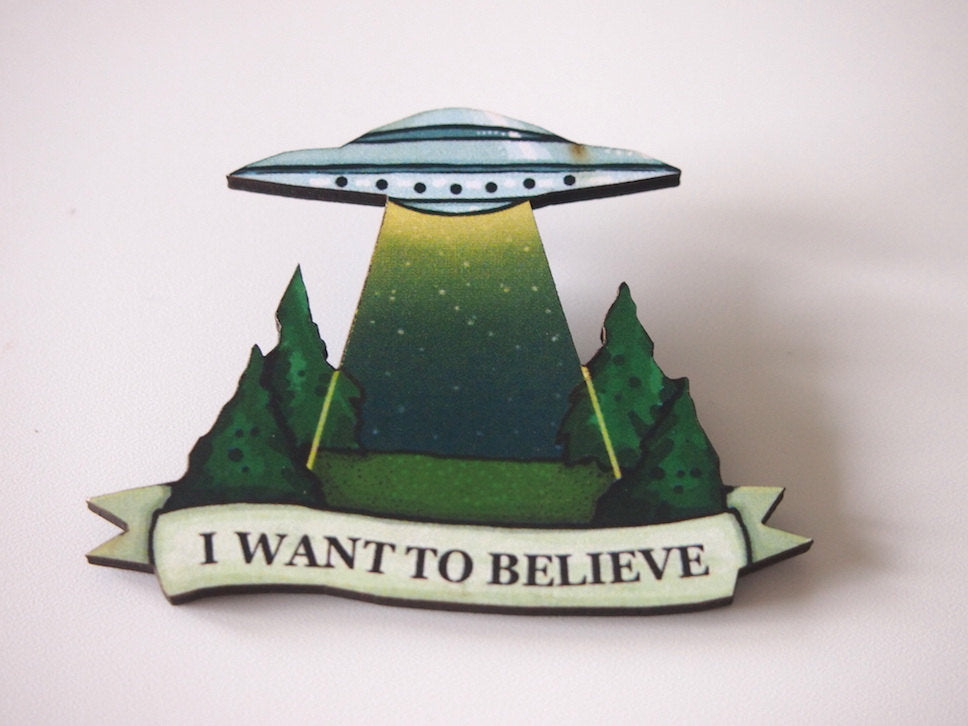 The X-Files Laser Cut Wood Brooch - I Want to Believe
