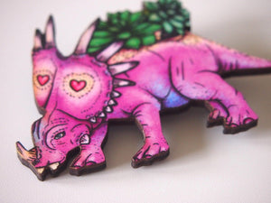 Triceratops Succulent Planter - Laser Cut Wood Brooch by Hungry Designs