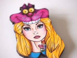 Hunted Alice in Wonderland Laser Cut Wood Brooch