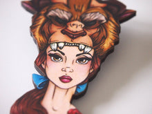 Load image into Gallery viewer, Hunted Belle - Beauty and the Beast - Laser Cut Wood Brooch
