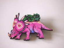 Load image into Gallery viewer, Triceratops Succulent Planter - Laser Cut Wood Brooch by Hungry Designs