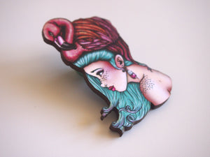 Flamingo Girl Laser Cut Wood Brooch