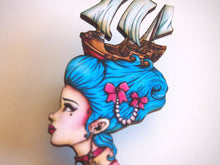 Load image into Gallery viewer, Marie Antoinette - Pirate Ship - Laser Cut Wood Brooch