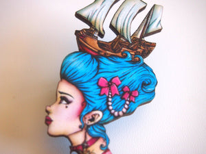 Marie Antoinette - Pirate Ship - Laser Cut Wood Brooch