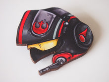 Load image into Gallery viewer, Poe Dameron Fighter Pilot Helmet - Star Wars - Laser Cut Wood Brooch